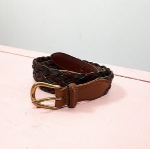 "HOST PICK"" VTG Woven Leather Brass Buckle Belt"